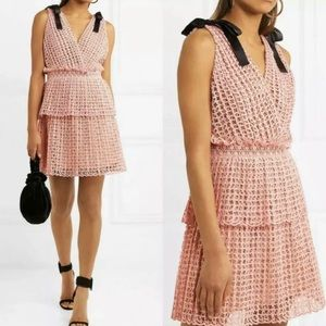 NWT Self Portrait Pink Vneck Hollowout Lace Dress